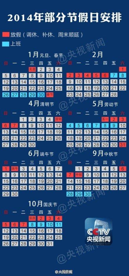 2014年部分节假日安排公布:春节放假调休共7天