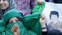 卡扎菲的支持者举行示威活动