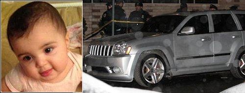 图为婴儿及被盗吉普车