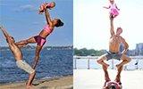 夫妇带8个月女儿做瑜伽 秀高难度动作
