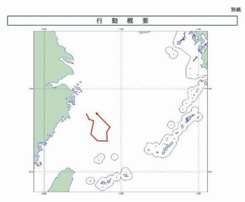 日本自卫队发布的中国飞机航线示意图