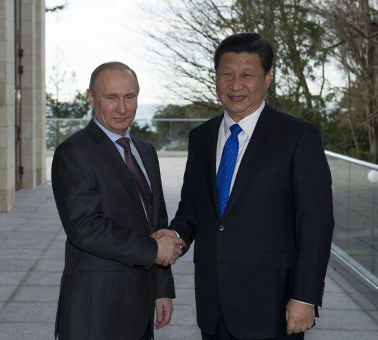 2014年2月6日,国家主席习近平在俄罗斯索契会见俄罗斯总统普京。新华社记者 黄敬文 摄