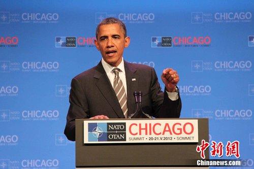 美国总统奥巴马21日在峰会上就阿富汗问题发表讲话。中新社发 李洋 摄