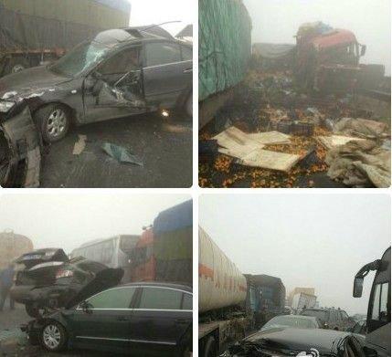 京沪高速泰安段30余车连环追尾 现场伤亡严重
