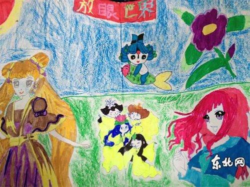 希望小学的学生亲手绘制的环保手抄报.