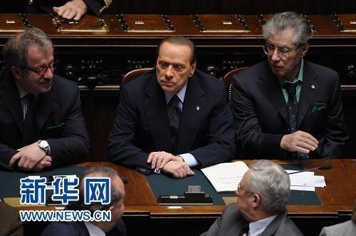 意大利总理表示将在稳定法案通过后辞职(图)