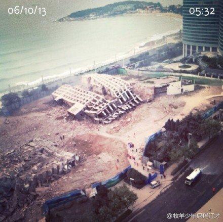 青岛海天大酒店爆破拆除 曾接待多位国宾