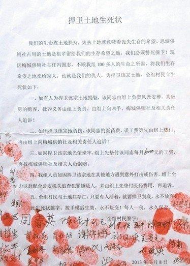 湖南近百农民立生死状讨5亩地:如捐躯风光安葬