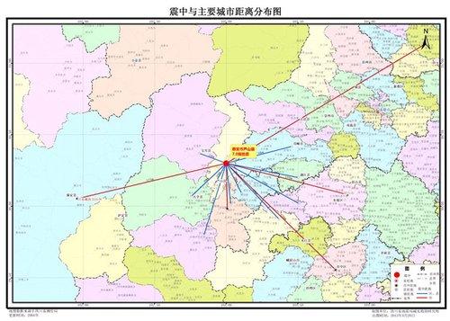 庐山震中与震中主要城市距离分布图