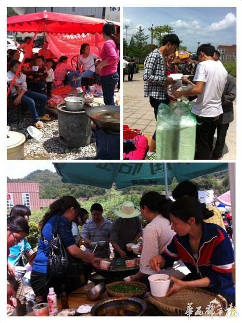 现场直击:商家自发为灾区群众免费提供食物