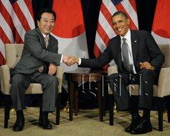 日本首相野田佳彦与美国总统奥巴马举行会谈。12日摄于夏威夷檀香山。共同社