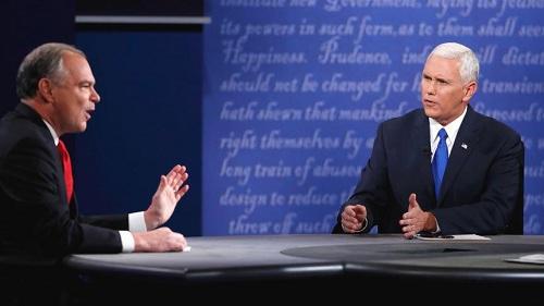 当地时间10月4日晚间,美国民主党副总统候选人凯恩(左)和共和党候选