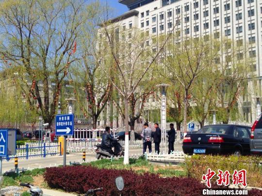 伊海山家属告诉中新网记者,伊海山在青龙县政府楼前树上上吊身亡。王天译摄
