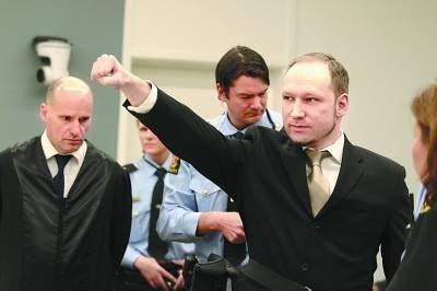 挪威枪击案凶手被判21年监禁 狱中配健身房书房