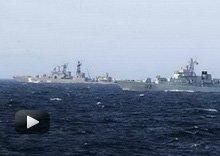 视频:中俄军演练对空对海火炮射击