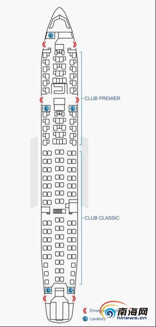 premier客舱共提供34个座位,以