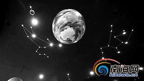 地面星星区域,八大行星以及十二星座点线图散布在各个角落