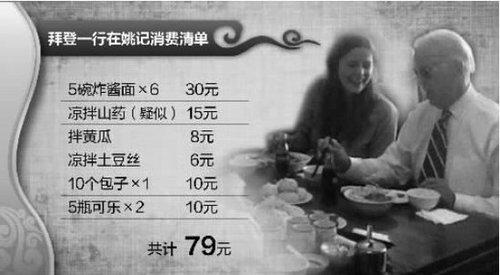 拜登中午吃炸酱面5人花79元(组图)
