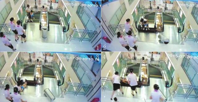 湖北女子被搅入商场扶梯身亡 最后一刻托起幼子