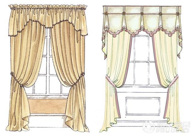窗帘的褶皱手绘图