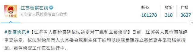 徐州市人大常委会原副主任丁维被立案侦查