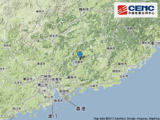 广东省河源市东源县发生有感地震