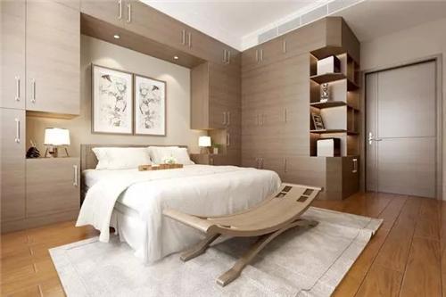 △主卧的轻盈感让人满心欢喜,床头背景墙的墙柜设计既满足了收纳,又十图片
