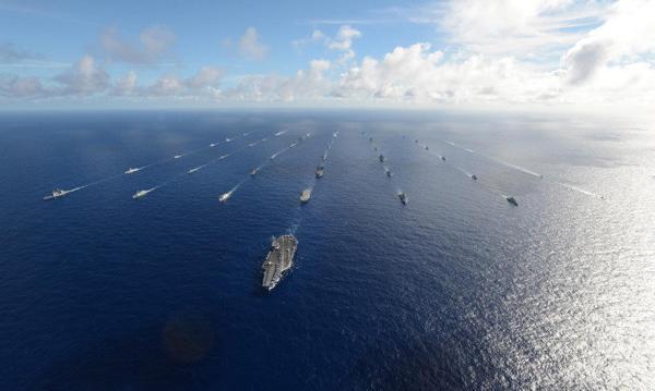 中国军舰首现环太平洋军演全家福