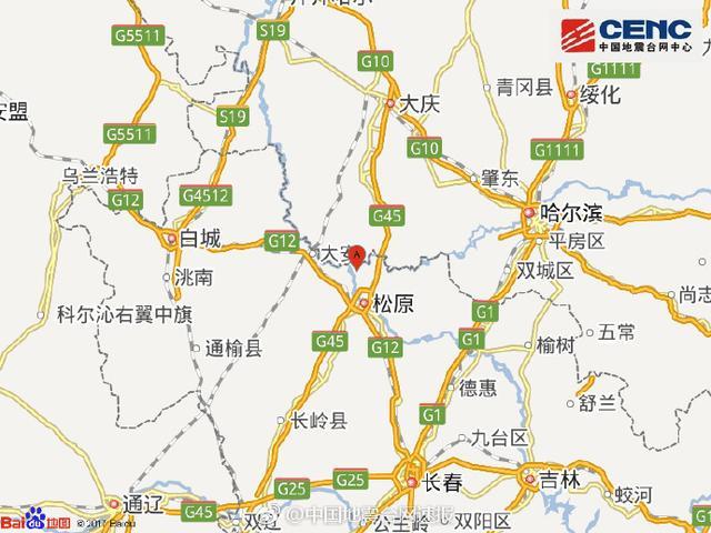 吉林松原市宁江区四周发作4.7级摆布地震