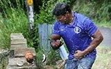 印度男子一分钟内徒手锤碎124个椰子