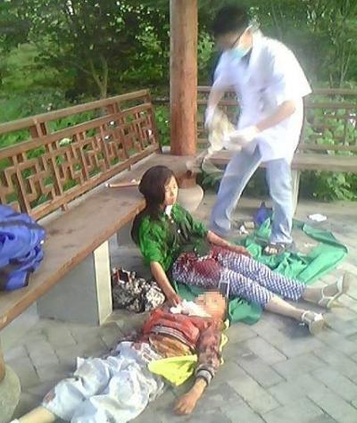 高清图—嘉兴海宁东山公园一母亲将儿子割脖后自杀被儿子拦下