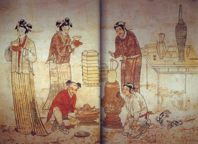 宣化辽墓壁画《备茶图》