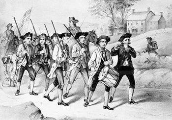 美国独立战争中持枪抗击英军的民兵队伍