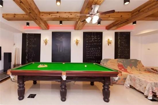 地下室作为娱乐室和来自天南海北的人们打打桌球