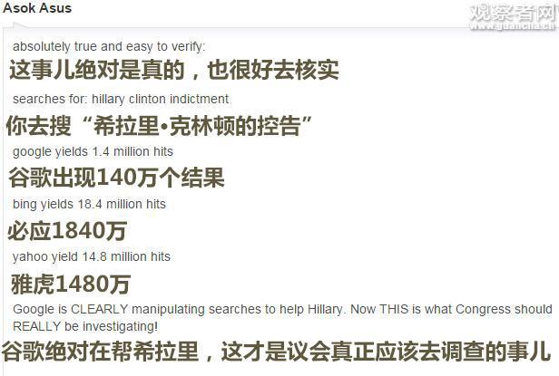 纸牌屋现实版?谷歌被曝操纵搜索结果支持希拉里