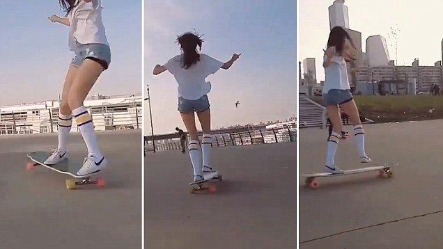 """高颜值大长腿!韩国""""长板女神""""秀滑板技巧"""