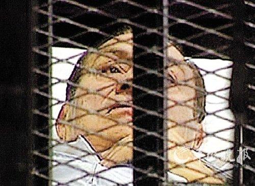 穆巴拉克笼中受审 轻松挥手否认所有指控(图)
