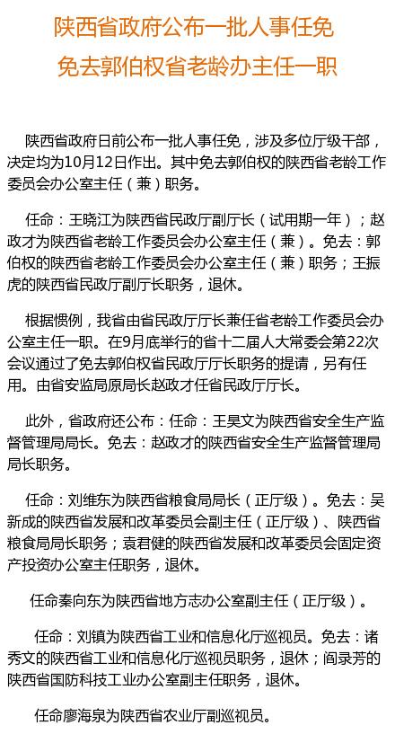 陕西省政府免去郭伯权省老龄办主任一职