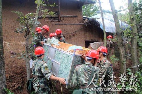 武警8750部队向彝良地震灾区捐赠物资
