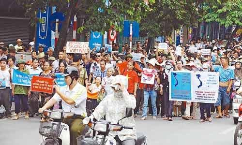 越南首都再现反华游行 实际参与者不足200人