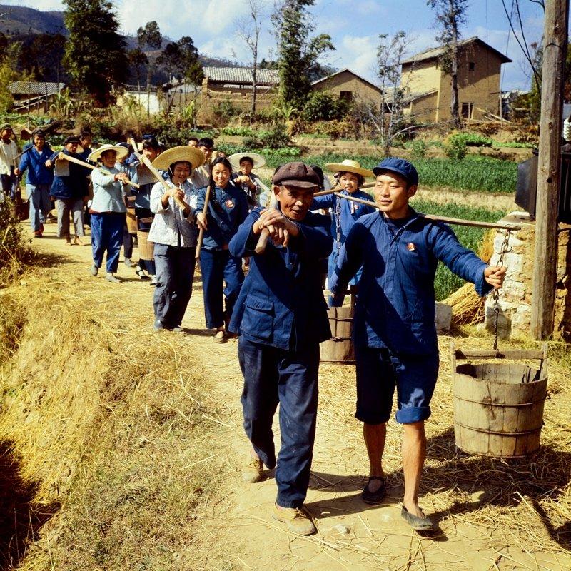 1970年,云南峨山彝族自治县,知识青年与农民一起挑着担子、扛着锄头下地劳动。