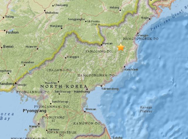 朝鲜发生4.9级地震 震源深度0千米