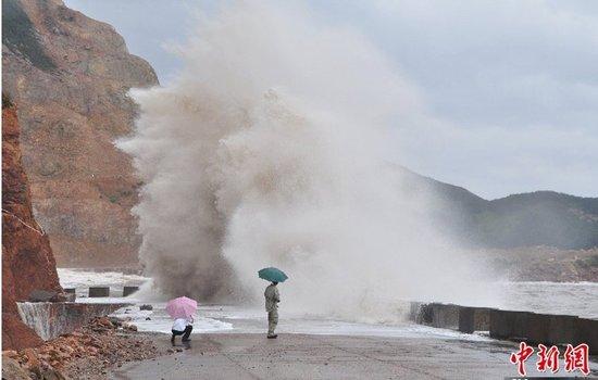 台风海葵于今日3时20分登陆浙江鹤浦镇沿海