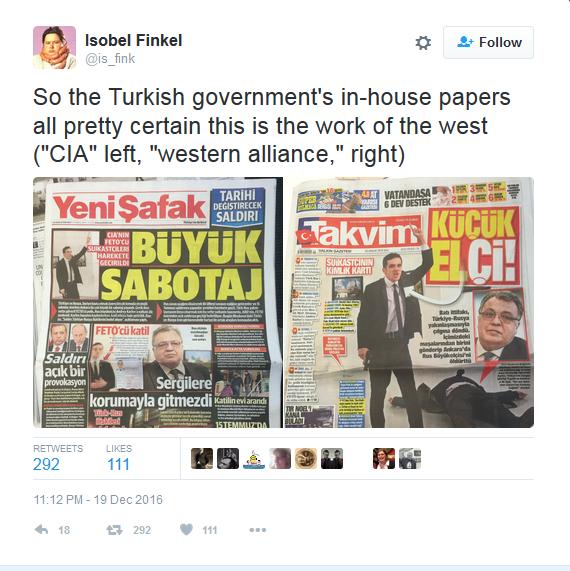 是CIA干掉了俄驻土大使?至少在土耳其,有人这样猜