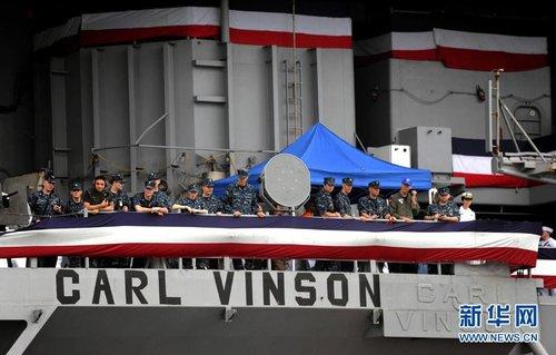 负责海葬拉登美国航母访港(组图)