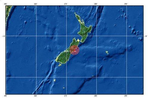 新西兰南岛发生6.2级地震 震源深度10公里