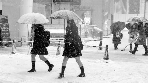 日本女生冬天穿短裙露大腿 抗冻民族如何炼成