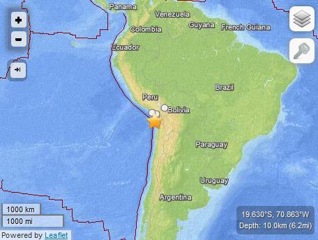 智利西北部海域发生8.0级地震多国发布海啸预警