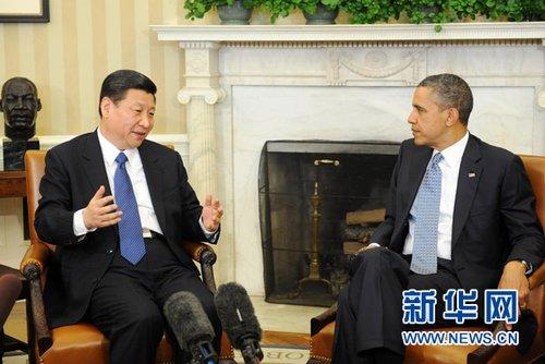 2月14日,中国国家副主席习近平在华盛顿白宫会见美国总统奥巴马。新华社记者 刘建生 摄