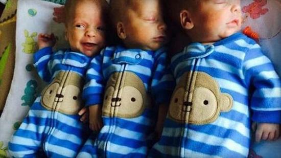 美国女子诞下同卵三胞胎出现概率百万分之一(图)